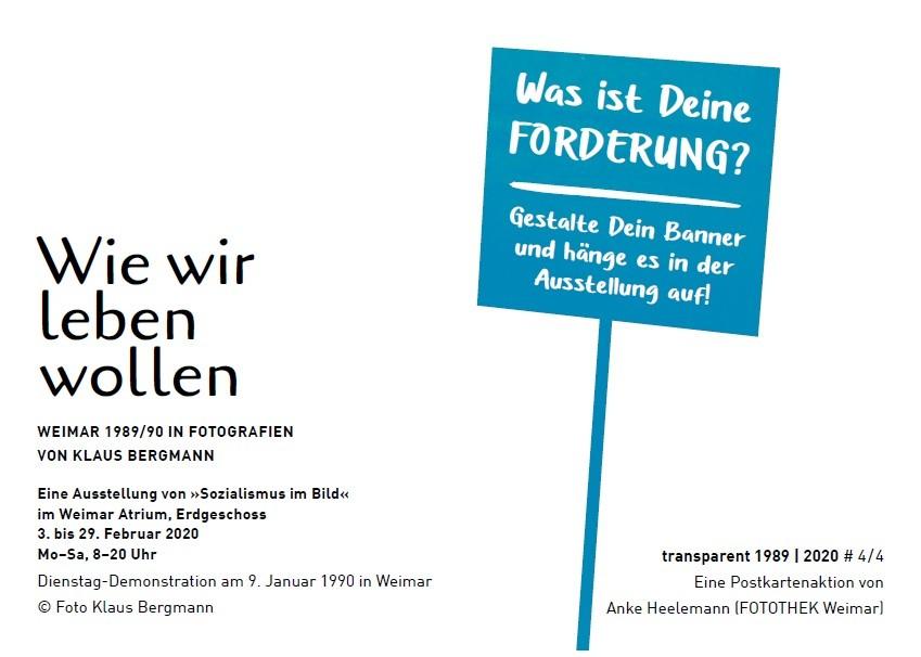 Postkarte »transparent 1989 | 2020«. Gestaltung: Anke Heelemann