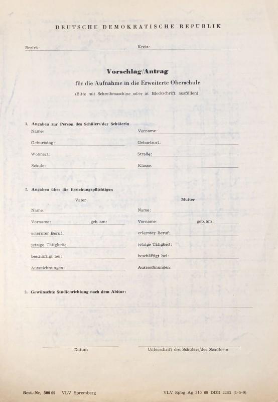 »Delegierungsbogen«, Vorschlag/Antrag für die Aufnahme in die Erweiterte Oberschule in der DDR
